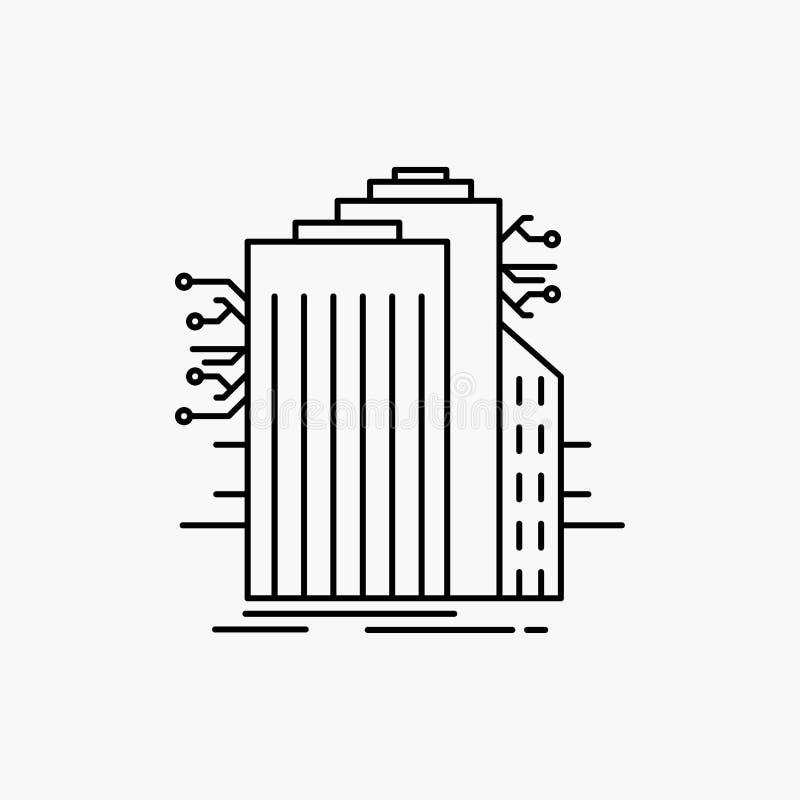 De bouw, Technologie, Verbonden Smart City, Internet-Lijnpictogram Vector ge?soleerde illustratie stock illustratie