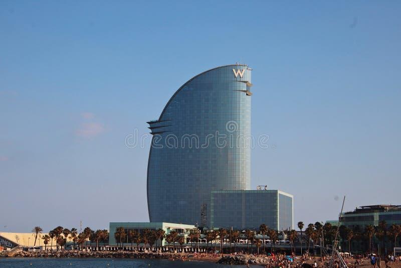 De bouw van de beroemde Hotelw Velum in Barcelona, Spanje royalty-vrije stock afbeeldingen