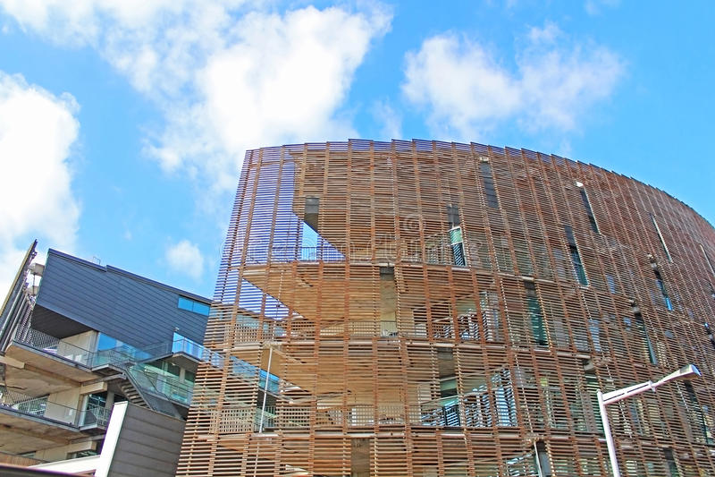 De bouw van Biomedisch Onderzoekpark, Barcelona, Spanje stock foto's
