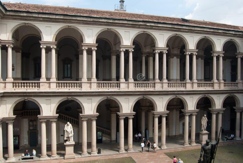 De bouw van Brera in Milaan royalty-vrije stock afbeelding