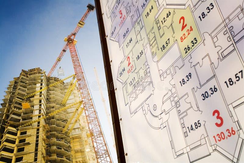 De bouw van Builded en zijn plan stock fotografie