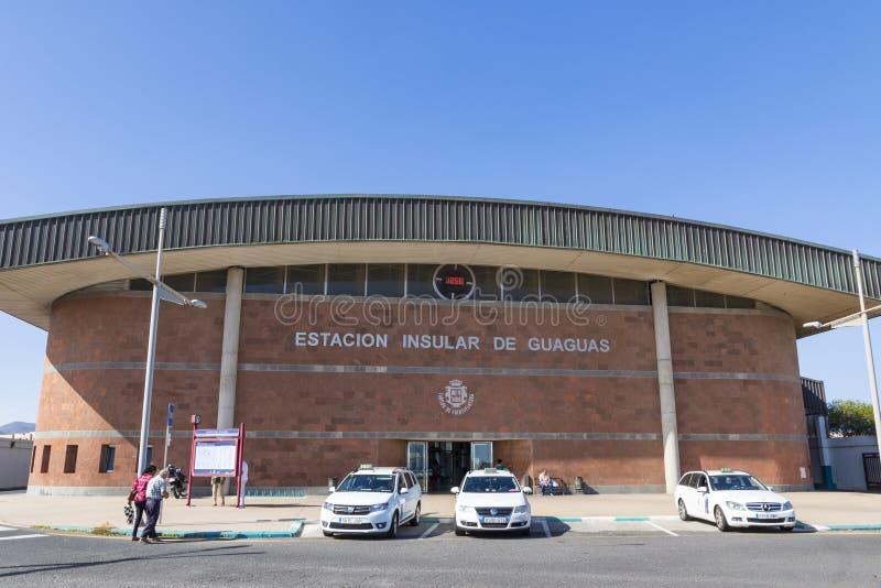 De bouw van Busstation in Puerto del Rosario, Fuerteventura, Canarische Eilanden, Spanje stock afbeeldingen