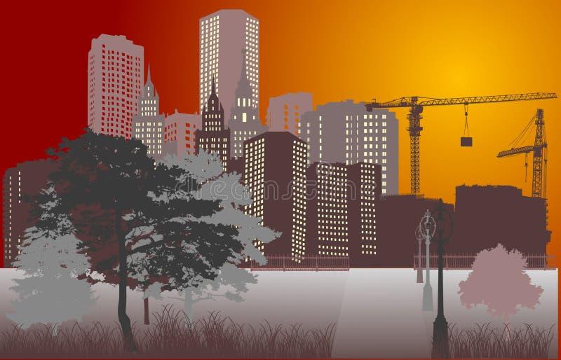 De bouw van de aard en van de stad stock illustratie