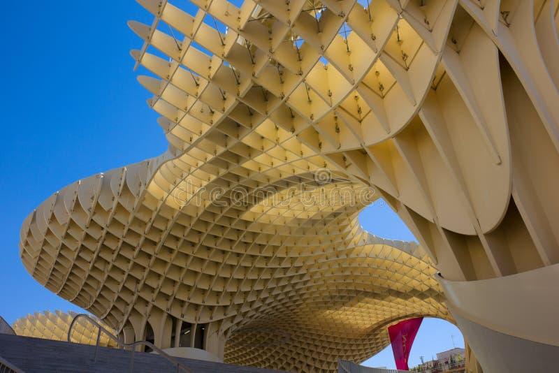 De bouw van de Parasol van Metropol in Sevilla, Spanje royalty-vrije stock foto's