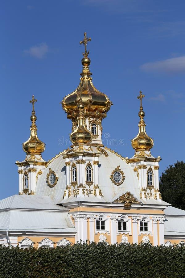 De bouw van de Petrodvoretskerk stock afbeeldingen