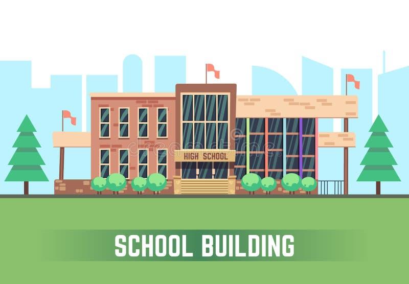 De bouw van de school Vector vlak onderwijsconcept stock illustratie