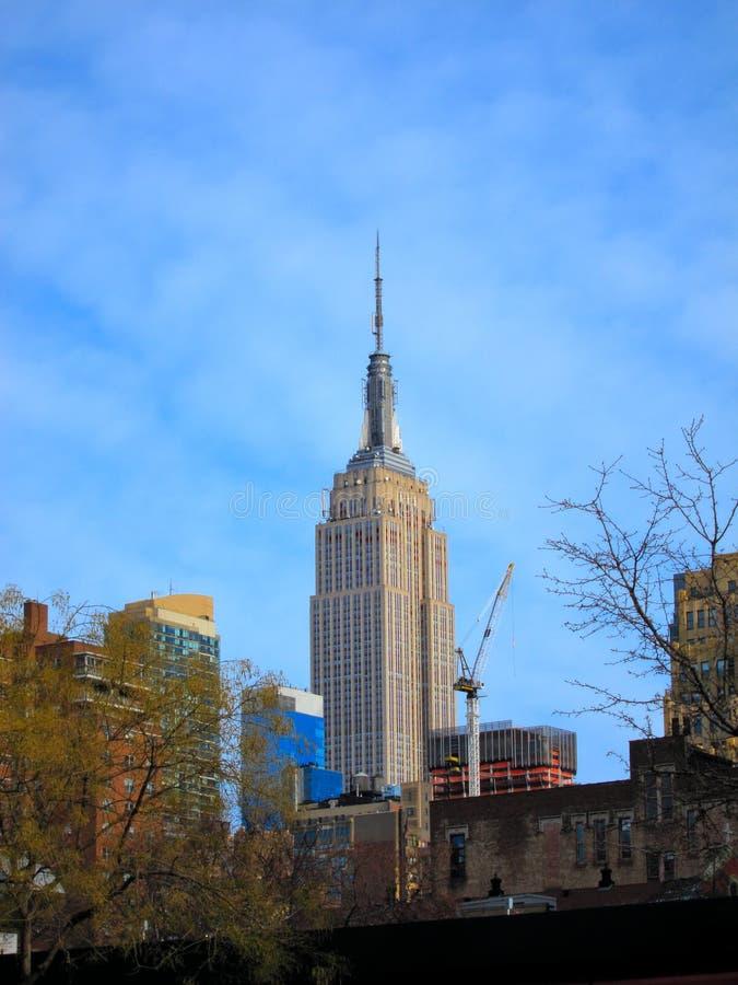De bouw van de Staat van het imperium, de Stad van Manhattan, New York stock foto