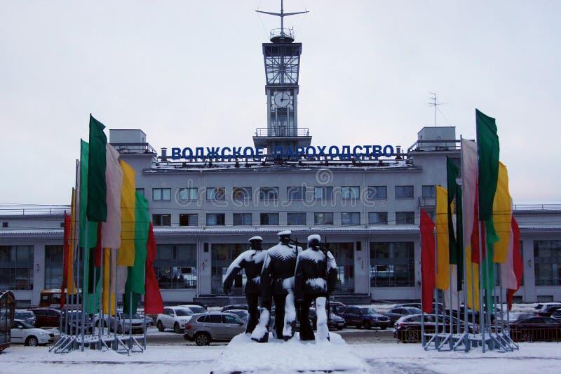 De bouw van de Volga Scheepvaartmaatschappij in Nizhny Novgorod, Rusland stock afbeelding