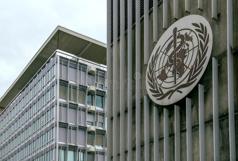 De bouw van de Wereldgezondheidsorganisatie & x28; WHO& x29; in Genève, Zwitserland stock afbeeldingen