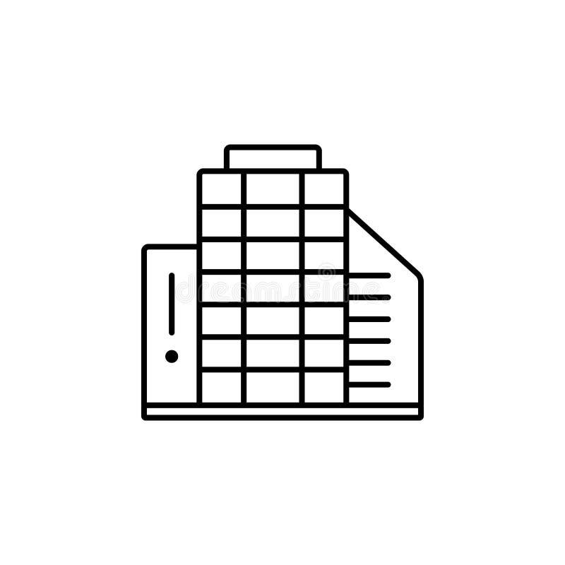 De bouw van het bureau Element van het pictogram van het baangesprek voor mobiel concept en Web apps De dunne bouw van het lijnbu vector illustratie
