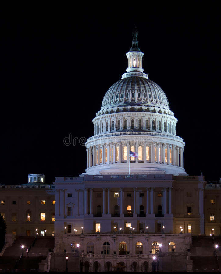 De Bouw van het Capitool bij nacht, Washington DC, de V.S. stock foto's