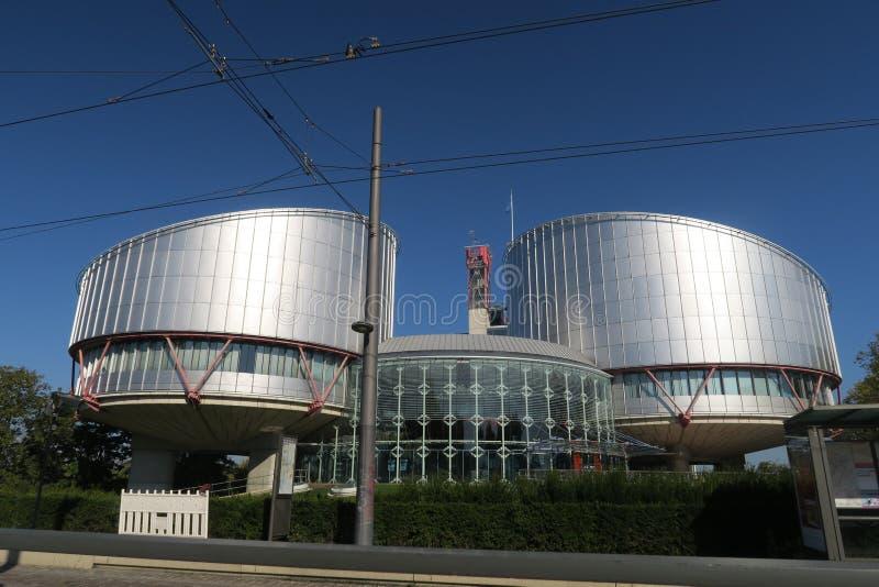 De bouw van het Europese hof van rechten van de mens in Straatsburg royalty-vrije stock afbeeldingen