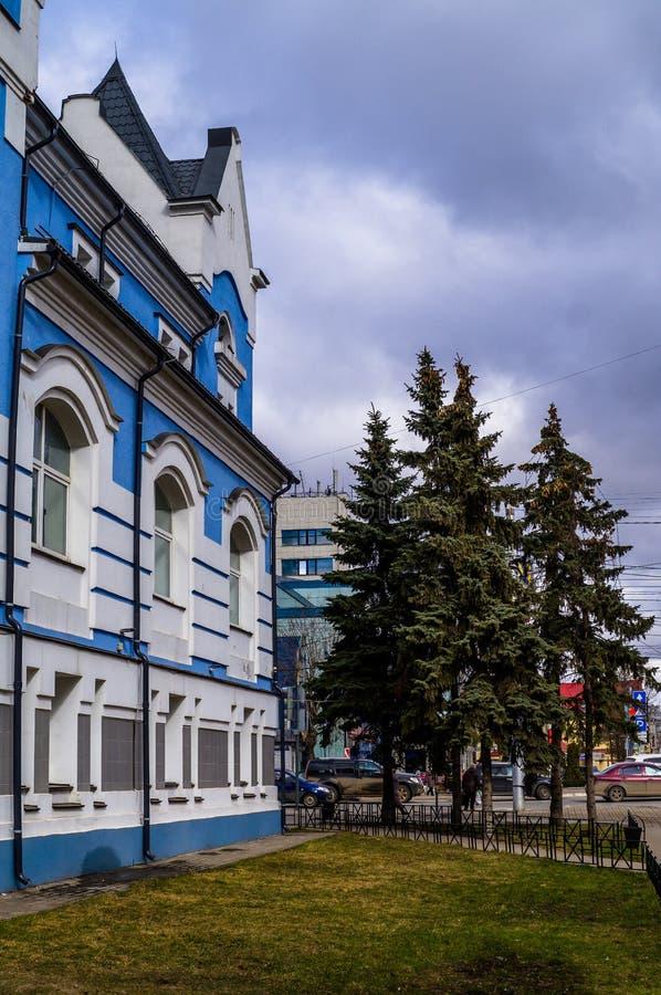 De bouw van het Huis van muziek in Kaluga in Rusland stock afbeelding