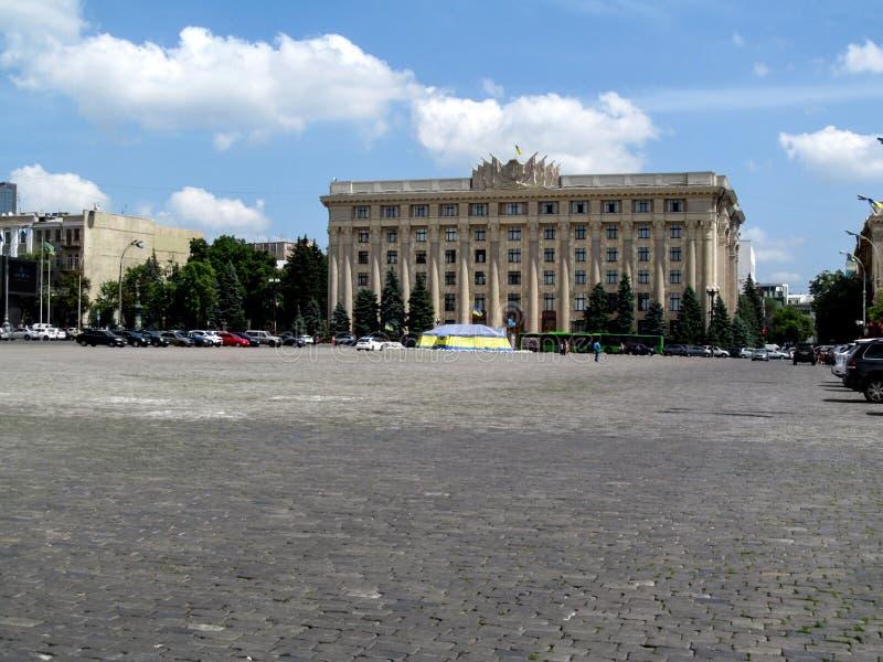 De bouw van het Kharkiv-Beleid van de Staat van het Gebied op het Svobody-vierkant, Kharkov, de Oekraïne stock foto