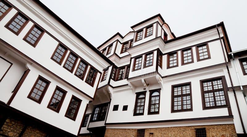 De bouw van het museum in ohrid stock foto