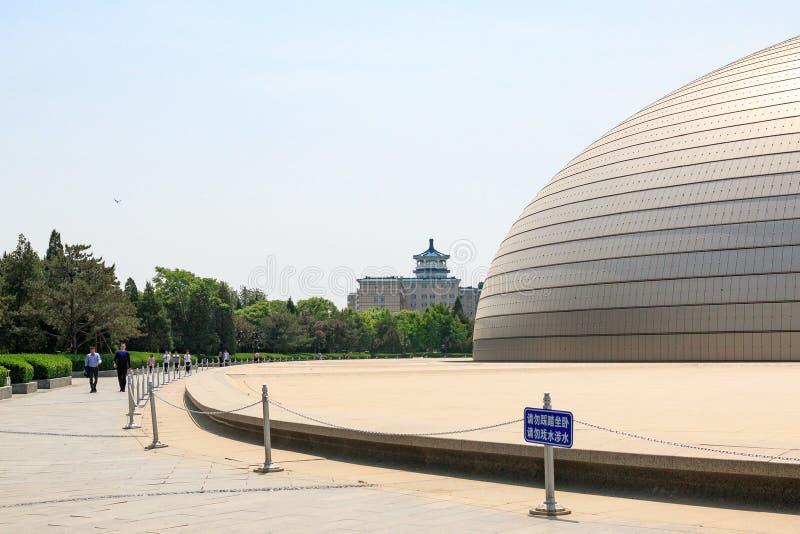 De bouw van het Nationale Centrum voor de Uitvoerende kunsten in Peking stock foto's
