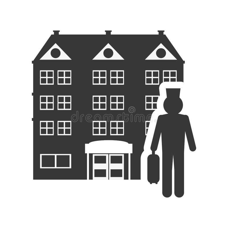 De bouw van het piccolohotel silhouetontwerp vector illustratie