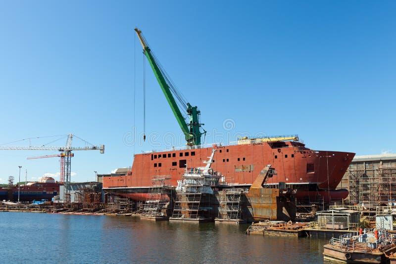 De bouw van het schip stock foto