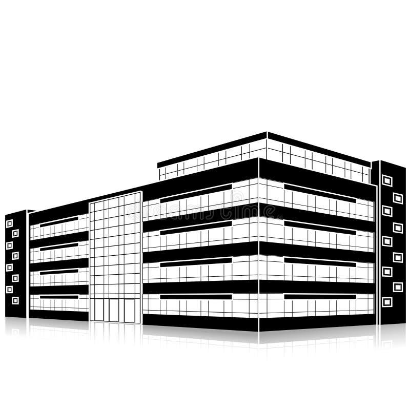 De bouw van het silhouetbureau met een ingang en bezinning royalty-vrije illustratie