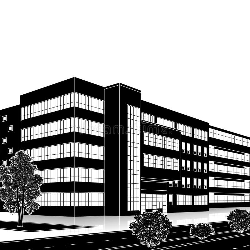 De bouw van het silhouetbureau met een ingang en bezinning vector illustratie