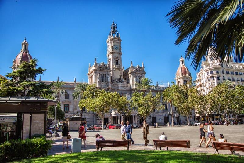 De Bouw van het stadhuis in Valencia, Spanje stock foto