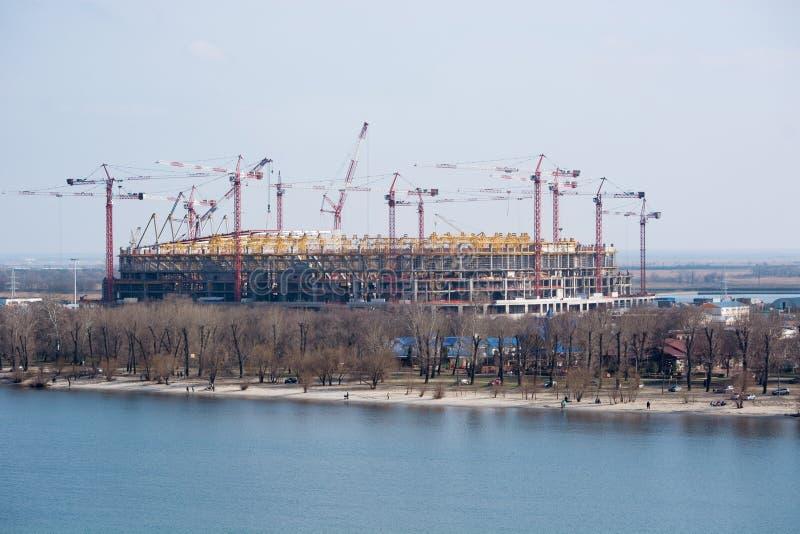 De bouw van het stadion voor de wereldbeker 2018 Rostov-op-trek aan royalty-vrije stock afbeeldingen