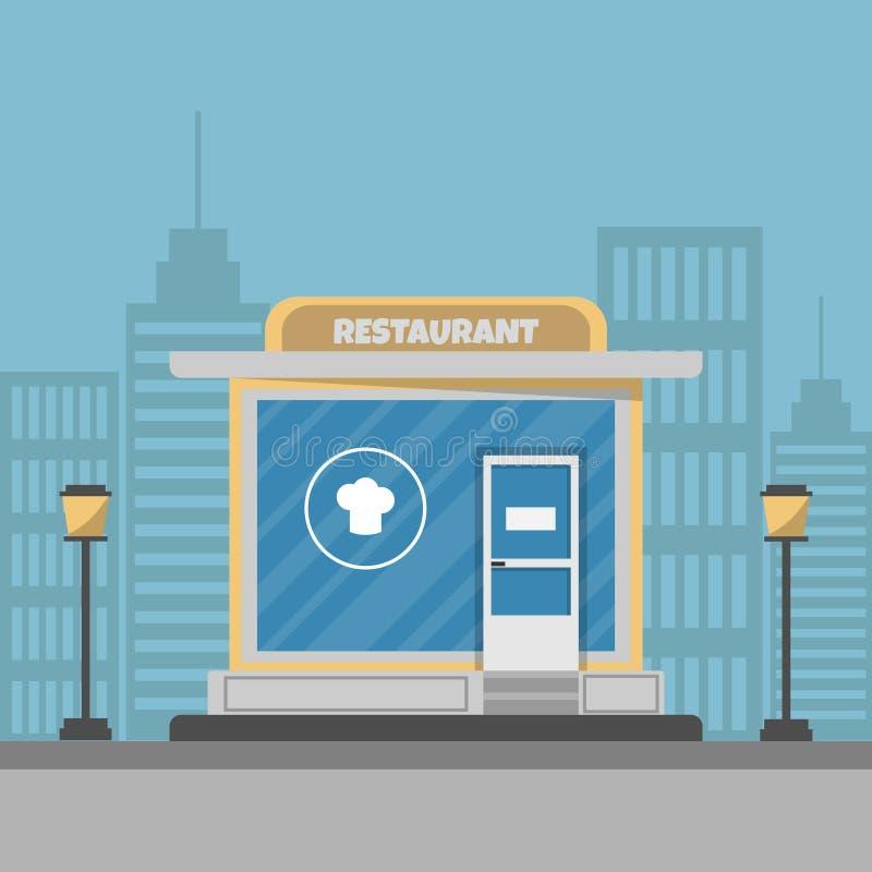 De bouw van het straatrestaurant Vector illustratie Een restaurant op een moderne achtergrond van de stadsstraat royalty-vrije stock fotografie