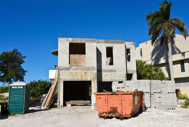 De Bouw van het strandhuis royalty-vrije stock afbeelding