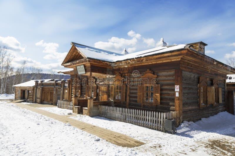 De bouw van het Volost-beleid in het architecturale en etnografische Museum 'Taltsy 'van Irkoetsk, het gebied van Irkoetsk stock foto's