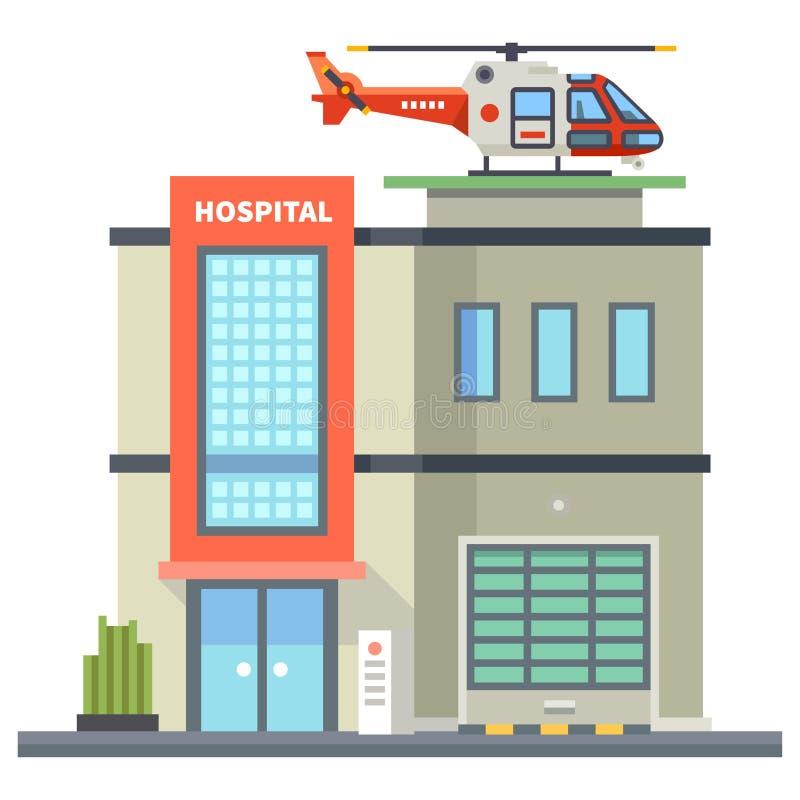 De bouw van het ziekenhuis Helikopter op dak Eerste hulp stock illustratie
