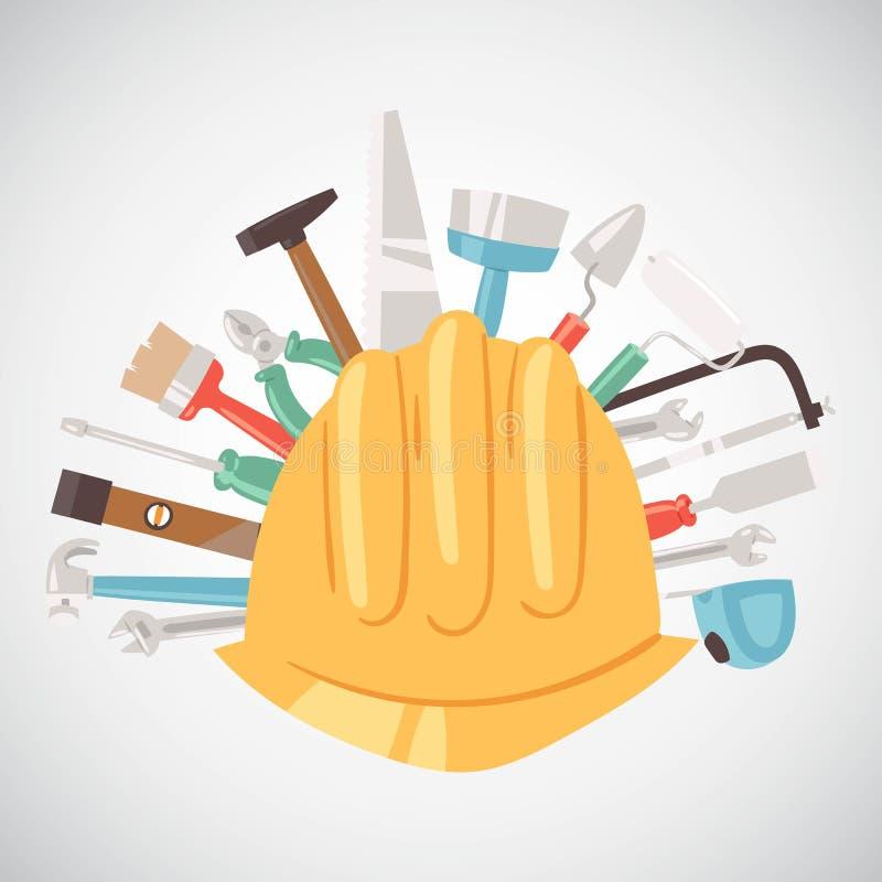 De bouw van hulpmiddelen rond de vectorillustratie van de helmbanner Huisreparatie De apparatuur van de bouw Handlevering voor hu vector illustratie