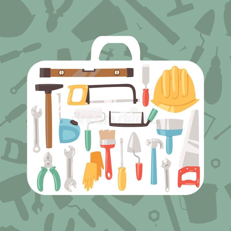 De bouw van hulpmiddelen voor het geval dat banner vectorillustratie De dienst van de huisreparatie De apparatuur van de bouw Han royalty-vrije illustratie