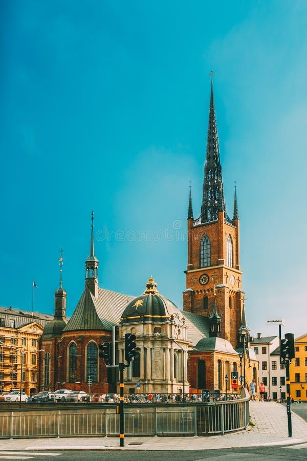 De bouw van de Kerk van Riddarholm Kyrka Riddarholm in Stockholm, Zweden stock foto
