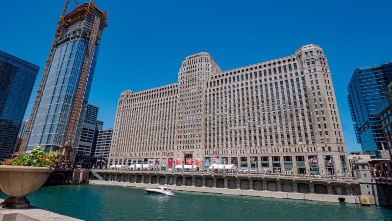 De bouw van de koopwaarmarkt in Chicago - CHICAGO, de V.S. - 11 JUNI, 2019 stock fotografie