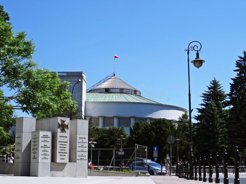 De bouw van Lagerhuis van het Poolse Parlement, Warshau, Polen stock afbeeldingen