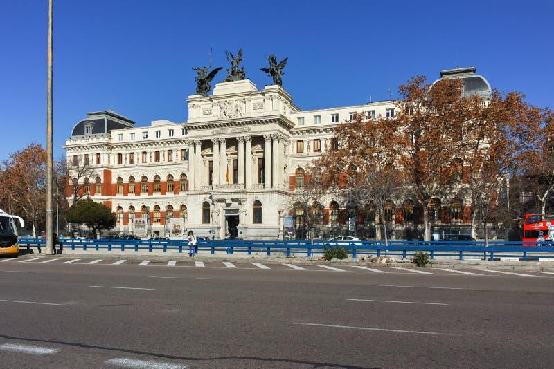De bouw van Ministerie van landbouw in Stad van Madrid royalty-vrije stock foto's