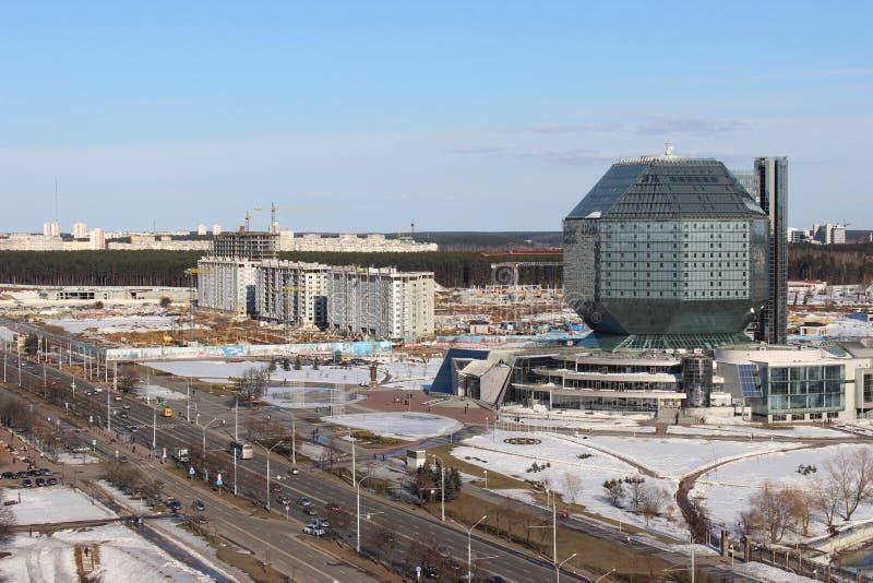 De bouw van Nationale Bibliotheek van Wit-Rusland in Minsk royalty-vrije stock afbeeldingen