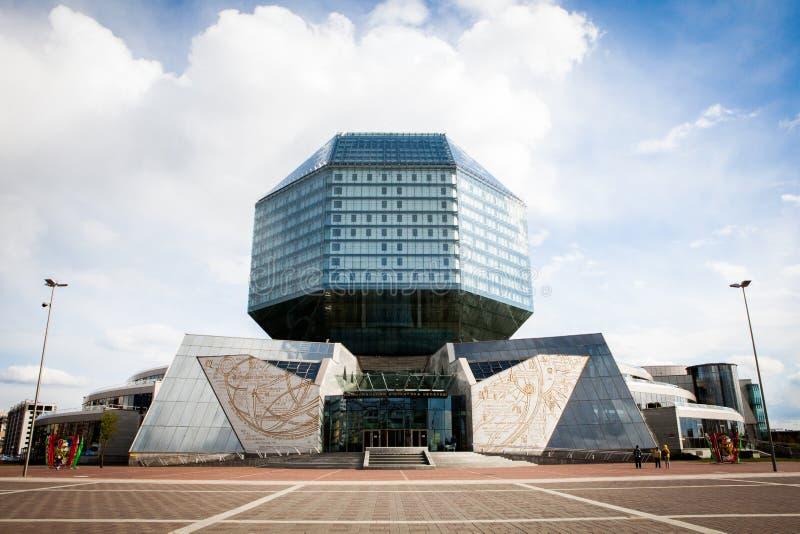 De bouw van de Nationale Bibliotheek van Wit-Rusland stock afbeeldingen