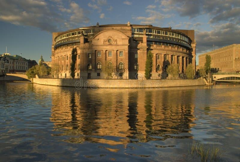 De bouw van Parlament, Stockholm stock foto
