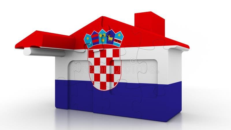 De bouw van raadselhuis die vlag van Kroatië kenmerken Kroatische emigratie, bouw of onroerende goederenmarkt conceptuele 3D vector illustratie