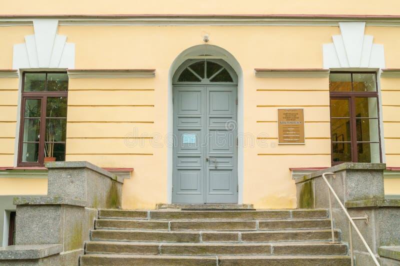 De bouw van de Regionale Universele Wetenschappelijke Bibliotheek van Novgorod in Veliky Novgorod, Rusland - de belangrijkste ing stock foto