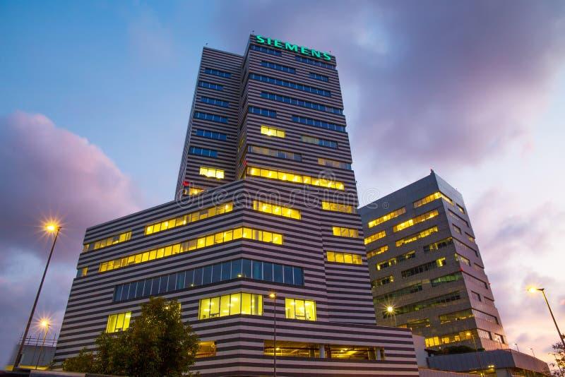 De Bouw van Siemens, het nieuwe hoofdkwartier van Genua, Italië stock foto