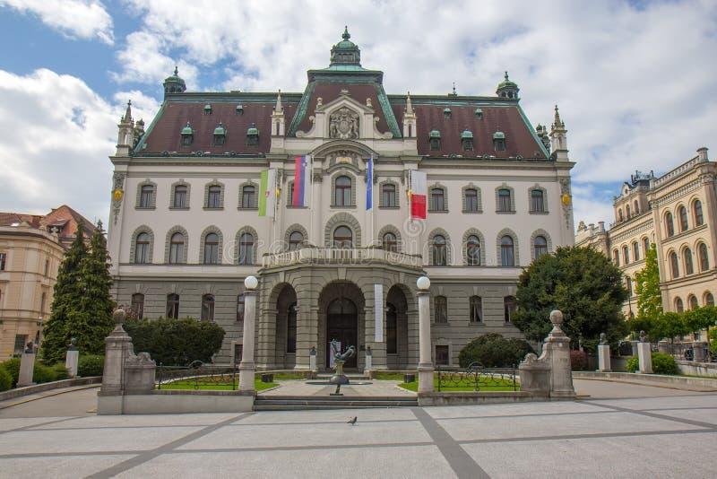 De bouw van Universiteit van Ljubljana, Slovenië stock fotografie