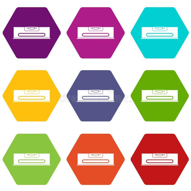 Download De Bouw Van De Vastgestelde Kleur Van Het Niveaupictogram Hexahedron Vector Illustratie - Illustratie bestaande uit reeks, gelijkheid: 107707375