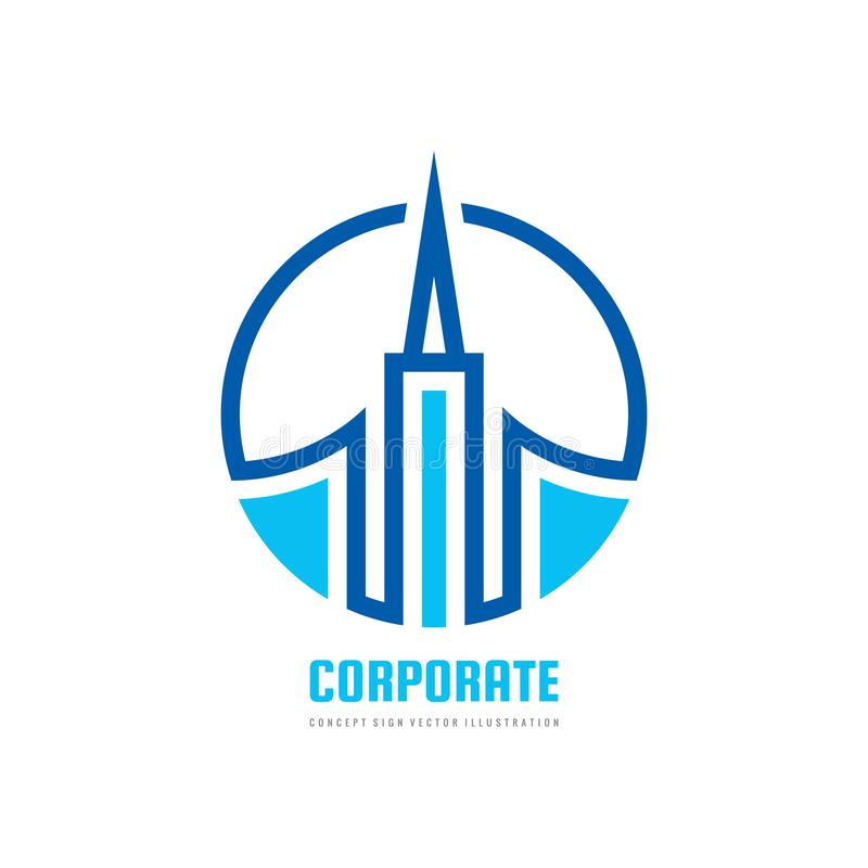 De bouw - vector het conceptenillustratie van het embleemmalplaatje Onroerende goederenabstract symbool Bouw creatief teken Toren vector illustratie
