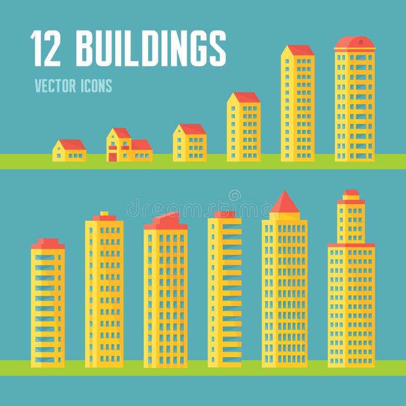 12 de bouw vectorpictogrammen in vlakke ontwerpstijl voor presentatie, boekje, website enz. Inzameling van architectuur de vector royalty-vrije illustratie