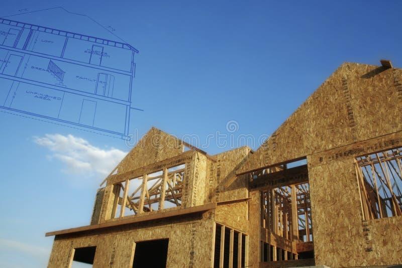 De bouwBlauwdruk van het huis stock fotografie