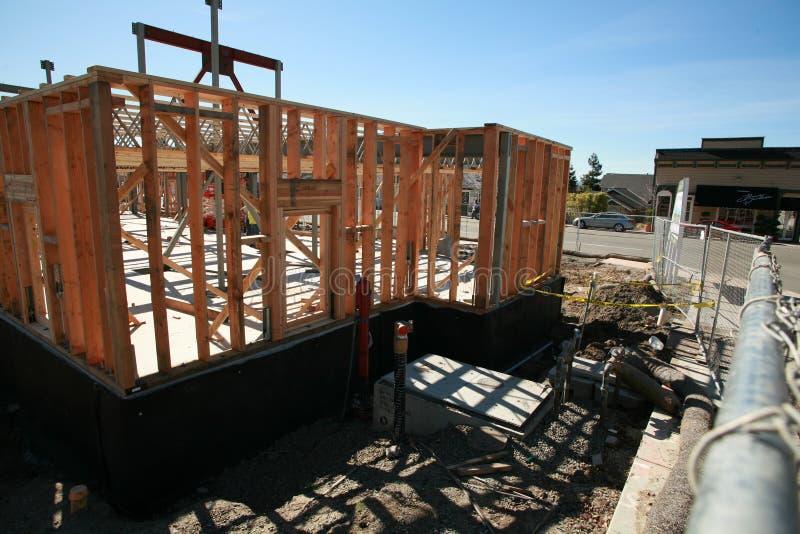 De bouwconstructie en de bouwconcepten van het huis stock foto