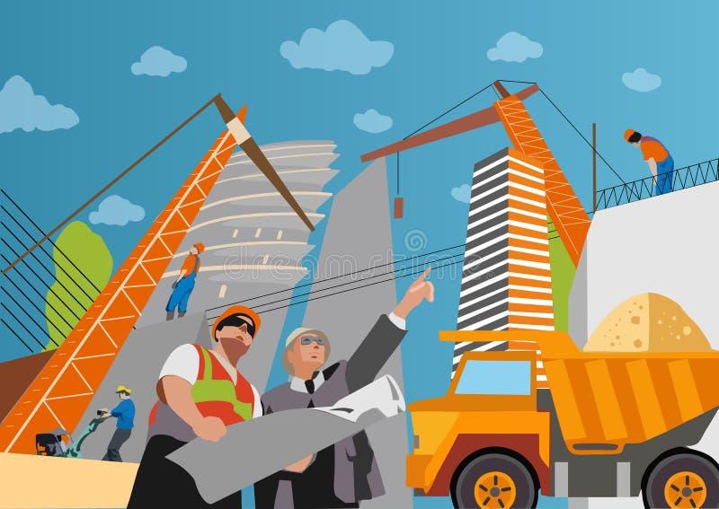 De bouwconstructievoorman van de bouwersaannemer vector illustratie