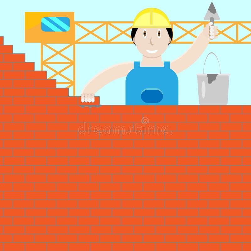 De bouwer bouwt een bakstenen muur vector illustratie